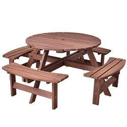 Giantex 8 Person Wooden Picnic Table Set with Wood Bench, with Umbrella Hold Design, Perfect for ...