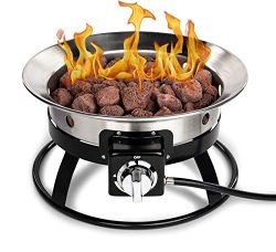 "Park and Patio Deluxe 19″ Portable Propane Fire Pit – 19"" Diameter Stainless Steel F ..."