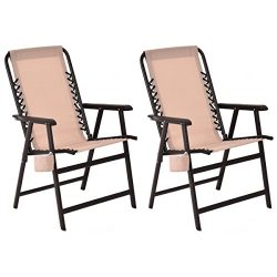 Giantex Set Of 2 Portable Folding Outdoor Arm Beach Chair W/Cup Holder Fishing Camping (2Beige)
