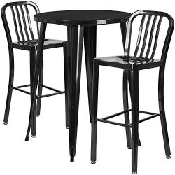 "Flash Furniture 30"" Round Black Metal Indoor-Outdoor Bar Table Set with 2 Vertical Slat Ba ..."