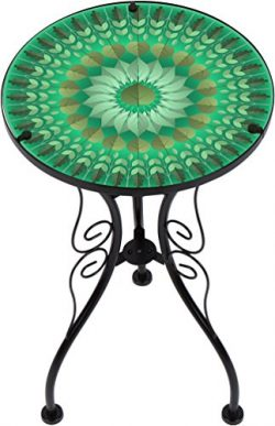 Trademark Innovations 22″ Leaf Design Glass & Metal Side Table
