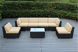 Ohana 7-Piece Outdoor Patio Furniture Sectional Conversation Set, Black Wicker with Beige Cushio ...