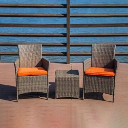 Wensltd Clearance 5 Pieces Outdoor Furniture Complete Patio Cushion Wicker Plastick Rattan Garde ...