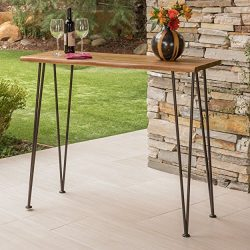 Great Deal Furniture | Daniel | Outdoor Industrial Acacia Wood/Iron Bar Table | in Rustic Metal  ...