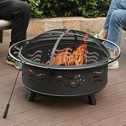 PHI VILLA 32″ Fire Pit Large Steel Patio Fireplace Cutouts Pattern, Poker & Spark Scre ...