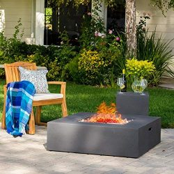 Hearth 50K BTU Outdoor Gas Fire Pit Table with Tank Holder (Square, Dark Grey)