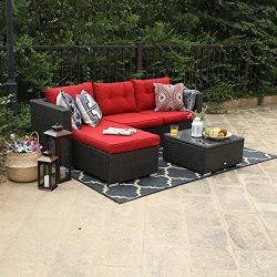 PHI VILLA 3 Piece New Outdoor Furniture Sectional Sofa Patio Set Upgrade Rattan Wicker, Red