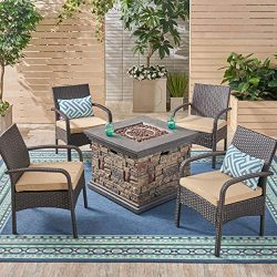 Great Deal Furniture Meroy Patio Fire Pit Set, 4-Seater with Club Chairs, Wicker with Outdoor Cu ...