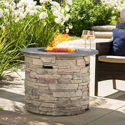 Great Deal Furniture Rogers Propane Fire Pit Round 32″ with Grey Top – 40,000 BTU