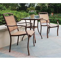 3 Piece Outdoor Patio Garden Bistro Furniture Set Powder Coated Rust Resistant Steel Frame & ...