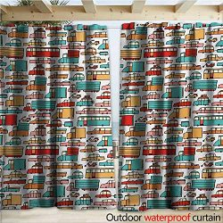 warmfamily Cars Drape for Pergola Curtain Children Drawing of Many Vehicles Motorbikes Caravans  ...