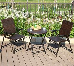 PHI VILLA 3 Piece Patio Rattan Bistro Sets, Weather Resistant Outdoor Furniture Set with Rust-Pr ...