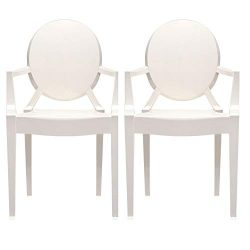 2xhome – Set of Two (2) White – Louis Style Ghost Armchair Dining Room Chair – ...