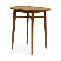 Great Deal Furniture Stanford Bar-Height Patio Table | Solid Acacia Wood | 39″ | Counter-H ...