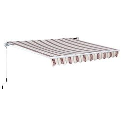 Outsunny 10′ x 8′ Manual Retractable Sun Shade Patio Awning – Red