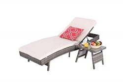 HTTH Outdoor Pool Garden Patio Chaise Lounge Recliner Bed Chair, Thick & Comfy Cushion Wicke ...