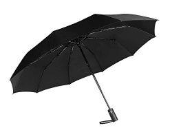 Fancyskin Compact Windproof Reinforced Canopy Travel Umbrella Ergonomic Handle Auto Open/Close Black