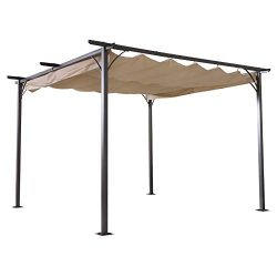 Outsunny 11.5' Retractable Canopy Cover Steel Frame Classic Pergola Gazebo