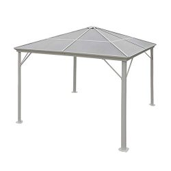 Great Deal Furniture Halley Outdoor 10 x 10 Foot White Rust Proof Aluminum Framed Hardtop Gazebo ...