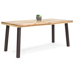 Best Choice Products 6-Person Indoor Outdoor Patio Rustic Acacia Wood Picnic Dining Table w/Meta ...