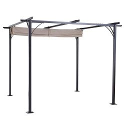 Outsunny 10' Retractable Canopy Cover Steel Frame Classic Pergola Gazebo