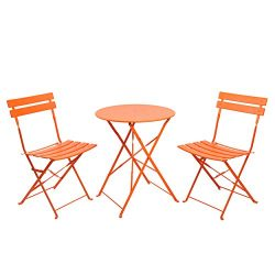 Finnhomy 3 Piece Steel Folding Table and Chair Set, w/Safe Lock for Indoors and Outdoors Bistro  ...