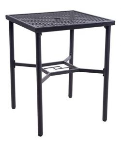 EMERIT Patio Metal Outdoor Bistro Bar Square Table with Umbrella Hole – 30″ x 30R ...