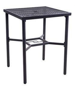 EMERIT Patio Metal Outdoor Bistro Bar Square Table with Umbrella Hole – 30″ x 30&#82 ...