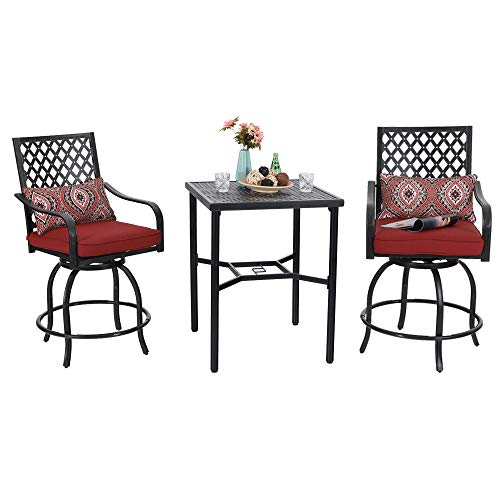 Phi Villa Outdoor Extra Wide Height Swivel Bar Stools Arms