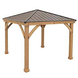 Yardistry 10′ x 10′ Wood Gazebo with Aluminum Roof