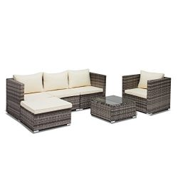 Uenjoy 6PC Outdoor Patio Furniture Set Rattan Wicker Cushioned Sofa & Table Garden Lawn Swim ...