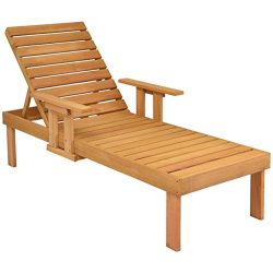 Giantex Wood Adirondack Chair Set w/Table Pull-Out Tray Wood Outdoor Patio Garden Deck Beach Cha ...