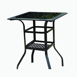 LOKATSE HOME Square 2-Tier Side Tea Small Patio Table, Tempered Glass Top Outdoor Bar Table with ...