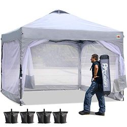 ABCCANOPY 10 x 10 Canopy Tent Ez Pop-up Tents Commercial Instant Shelter with Side Walls and Whe ...
