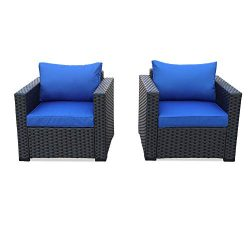 Patio Rattan Wicker Single Chair-Outdoor Armchair Sofa Furniture with Thick Blue Cushion,Steel F ...