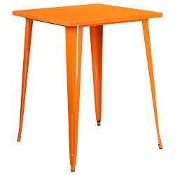 "Flash Furniture 31.5"" Square Orange Metal Indoor-Outdoor Bar Height Table"