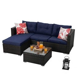 PHI VILLA 3-Piece Patio Furniture Set Rattan Sectional Sofa Wicker Furniture (Blue)