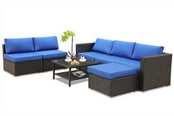 Leaptime Patio Furniture Garden Rattan Sofa 7-Piece PE Rattan Royal Blue Cushion Outdoor Couch O ...