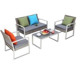 Do4U 4 PCS Outdoor Patio Furniture Conversation Set Cushioned PE Wicker Bistro Table Set with Co ...