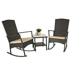 Rattaner Wicker Rocking Chair Set 3 Piece Outdoor Patio Dark Brown Rattan Bistro Set Furniture w ...