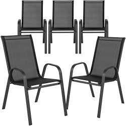 Flash Furniture 5 Pk. Brazos Series Black Outdoor Stack Chair with Flex Comfort Material and Met ...