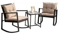 Hq Outdoor Rocking Rattan Bistro Set: 3-Piece Wicker Furniture – Two Chairs with Glass Cof ...