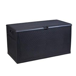HYD-parts Black Patio Storage Bench Deck Box, Outdoor Garden Storage Plastic Bench Box 120 Gallon