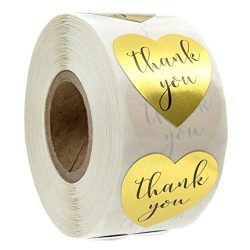 Canopy Street Gold Heart Shape Thank You Foil Sticker Labels – 500 Stickers, 1 1/8, 1.125& ...