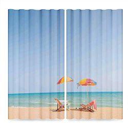 YOLIYANA Seaside Decor Window Curtains,Beach Chair Umbrella on Beach Leisure Tourist Attractions ...