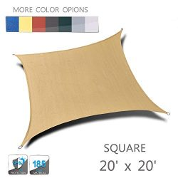 Love Story 20′ x 20′ Sand Square UV Block Sun Shade Sail Awning Perfect for Outdoor  ...