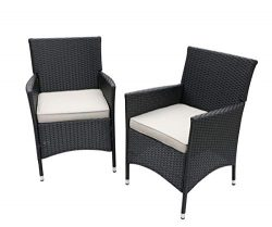 Do4U 2 Pcs Rattan Wicker Outdoor Dining Chairs | Patio, Backyard, Porch, Garden, Poolside (3016- ...