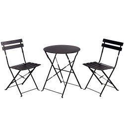 Grand patio Premium Steel Patio Bistro Set, Folding Outdoor Patio Furniture Sets, 3 Piece Patio  ...