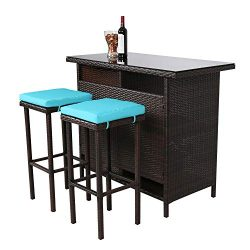 Kinbor 3-Piece Wicker Bar Set with Stools Patio Outdoor Backyard Table & 2 Bar Stools Dining ...