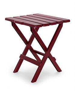Camco 51694 Red Large Adirondack Portable Outdoor Folding Side Table, Perfect for The Beach, Cam ...